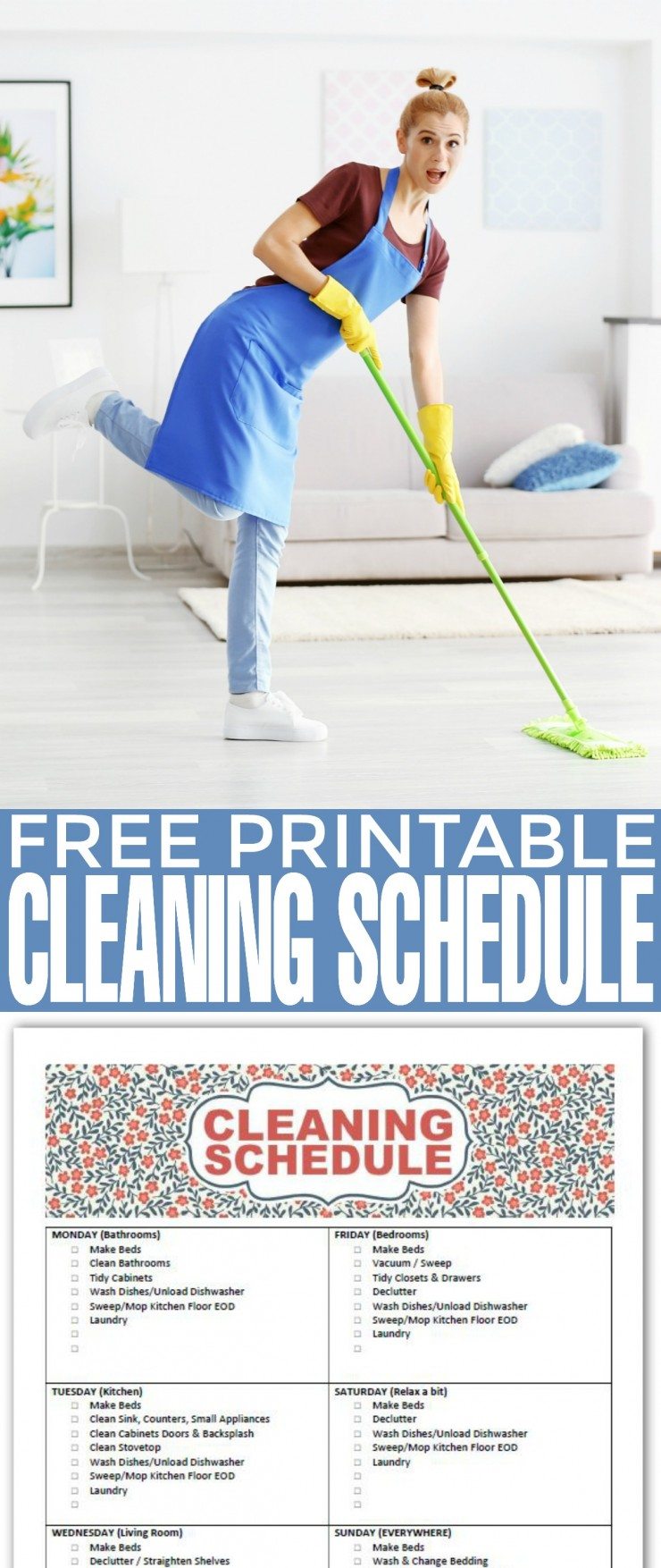 Download and print off this Free Printable Cleaning Schedule now and start to get organised for more efficient cleaning around your house. Once you get into the groove of following a set cleaning schedule the jobs will only get easier and easier as your living space gets cleaned regularly.