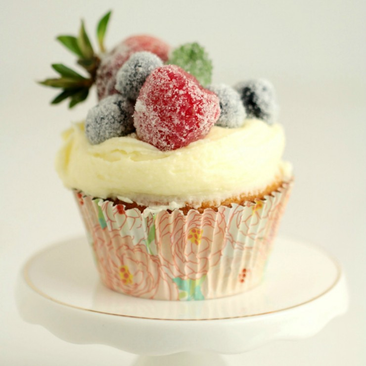 Frosted Berry Cupcakes with an Orange Mascarpone Buttercream Frosting