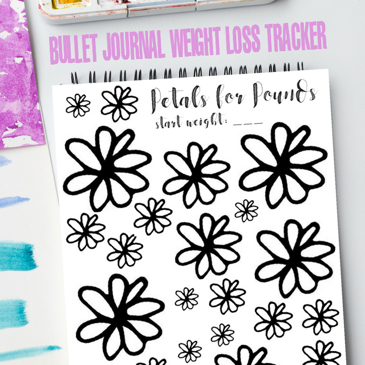 """""""Petals for Pounds"""" Bullet Journal Weight Loss Tracker"""