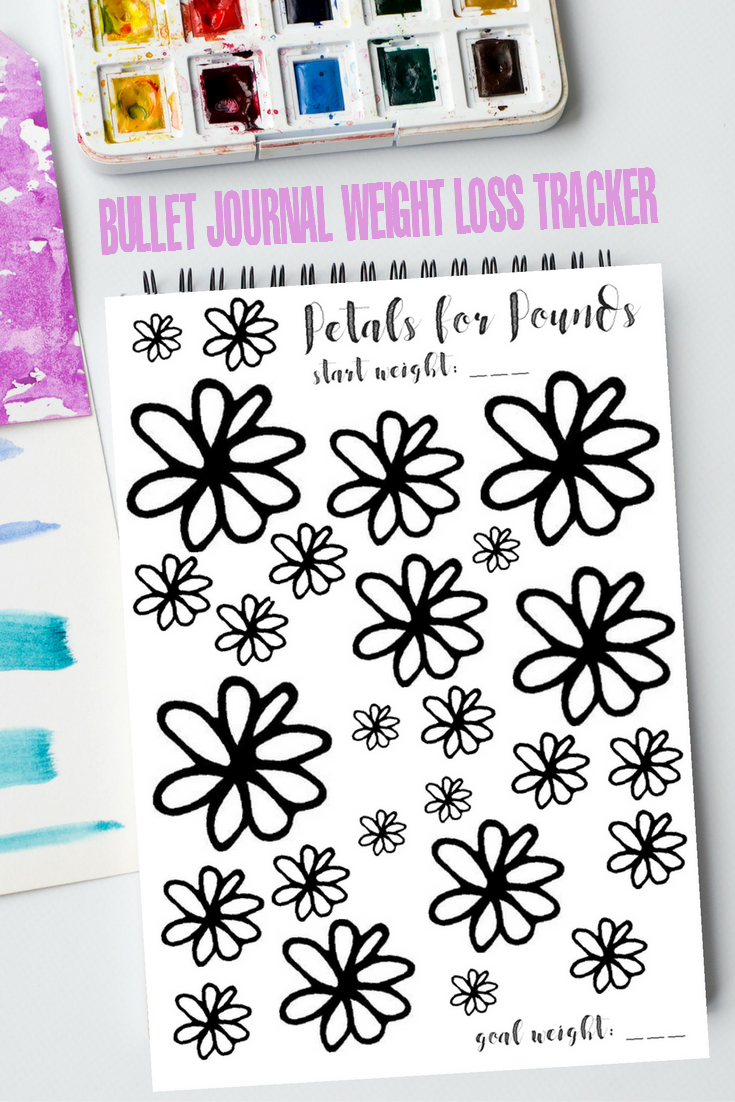 "Bullet Journaling is huge right now and for good reason. This ""Petals for Pounds"" Bullet Journal Weight Loss Tracker page is perfect to help you hit your  New Year's weight loss goals and resolutions. Journalers can use this tracker to colour in and track pounds lost towards their goal weight."