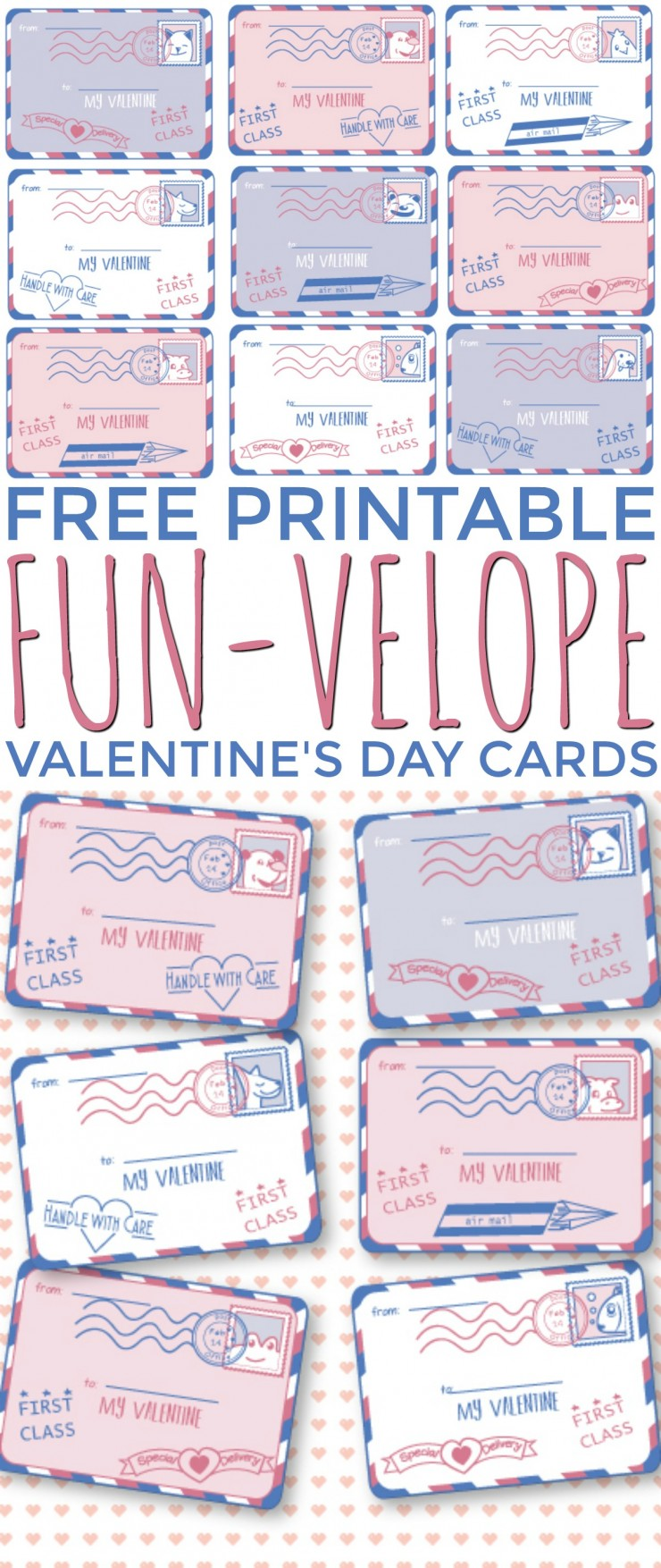 These 9 Free Printable Fun-Velope Valentine's Day Cards are super cute - they are made to look like little envelopes that can be addressed to each recipient.
