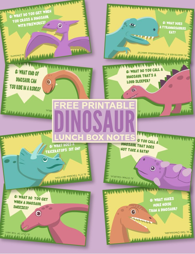 Free Printable Dinosaur Lunch Box Notes - super cute dinosaur themed jokes perfect for tucking into your kids lunch!