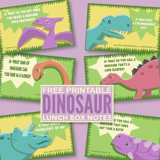 Free Printable Dinosaur Lunch Box Notes
