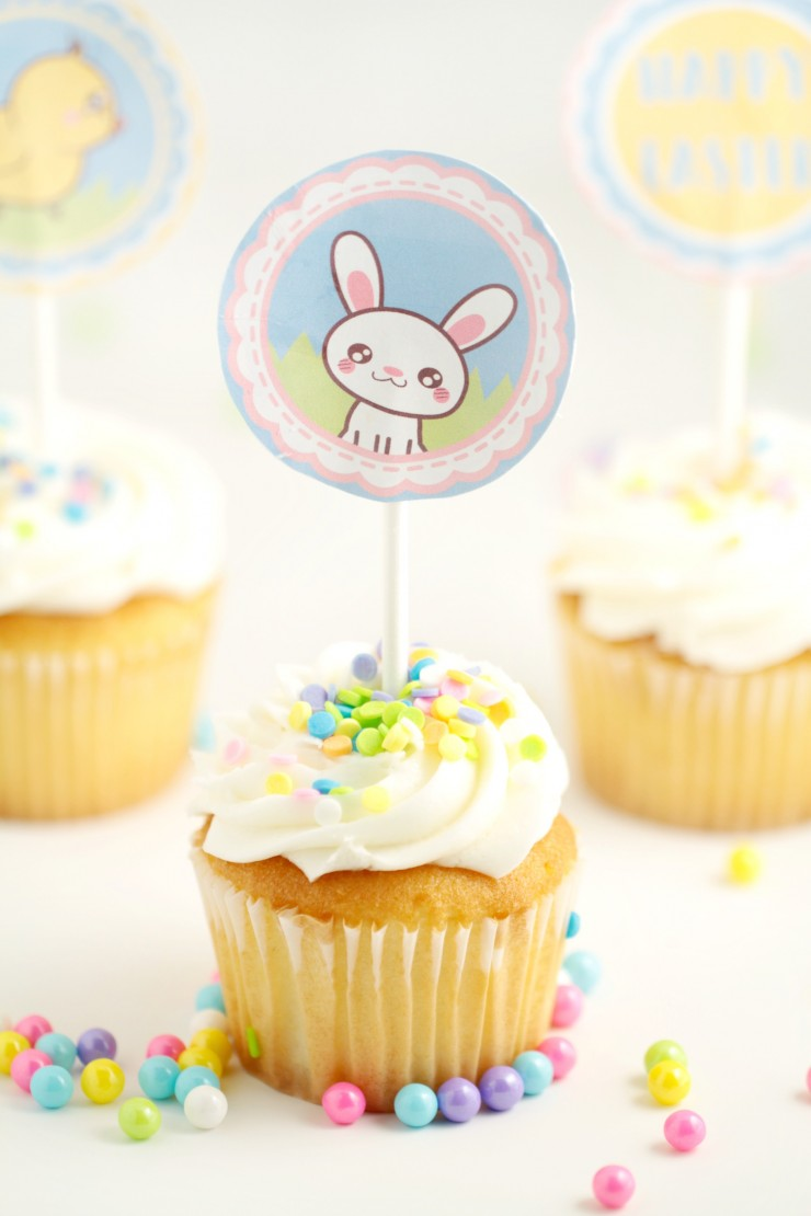 image relating to Printable Cupcake identified as Cost-free Printable Easter Cupcake Toppers - Frugal Mother Eh!