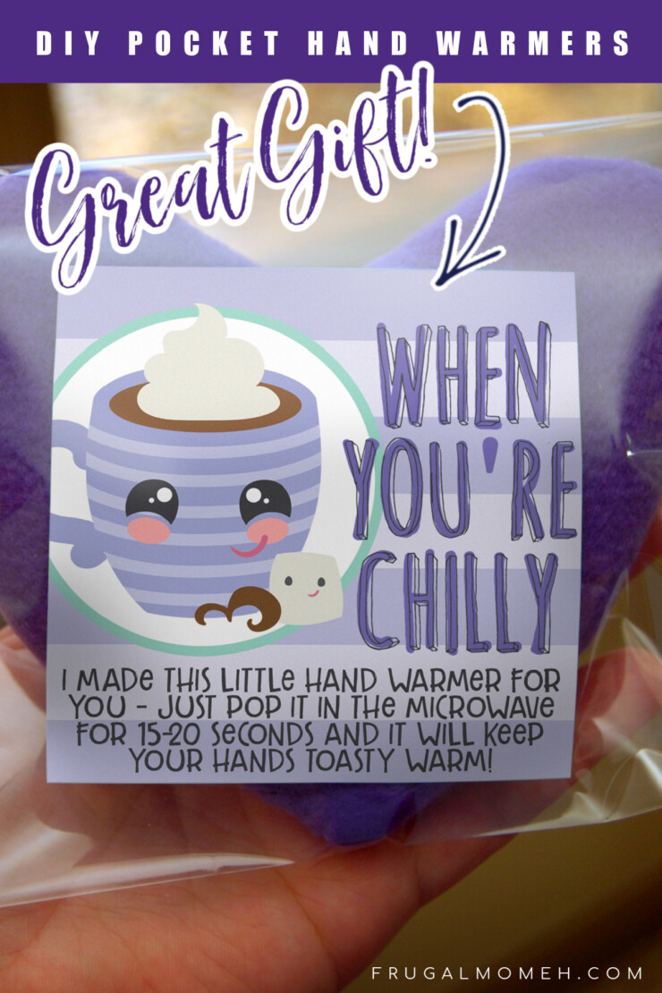 These DIY Pocket Hand Warmers make great gifts and stocking stuffers, and not only are they great as pocket warmers, they also double as cold packs. Includes free printable labels!