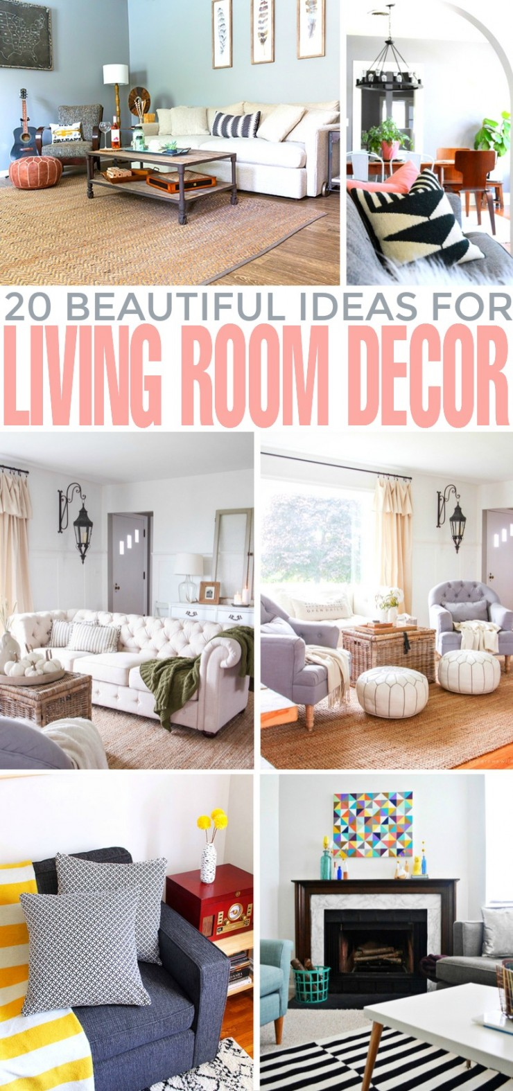 A couple of days ago I was looking for some inspiration online and I came across some beautiful and unique living room decorating ideas that can maximize your space and bring more light into your home.