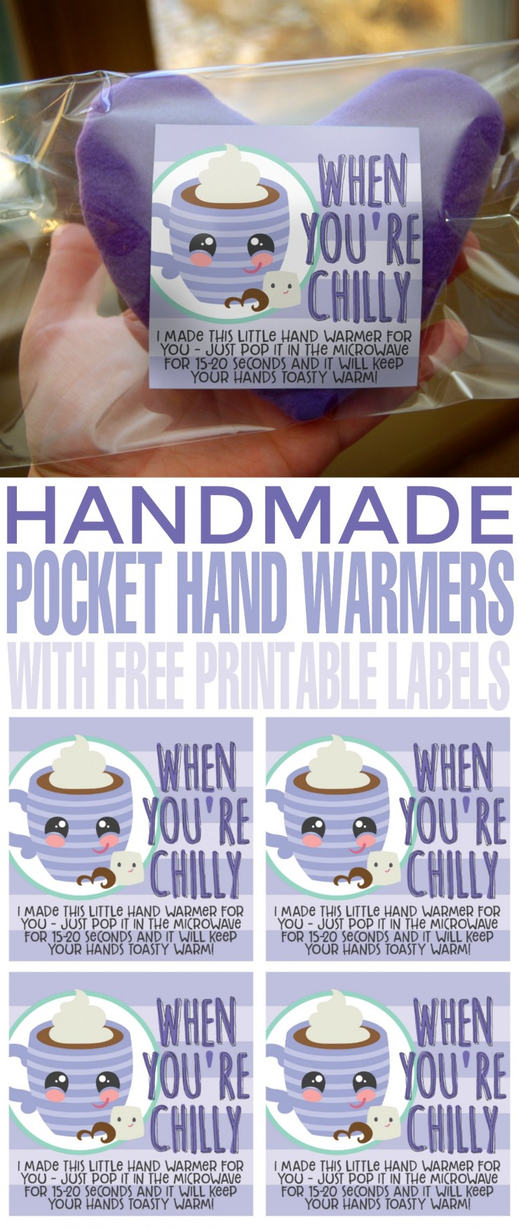 Not only are these DIY Pocket Hand Warmers with Free Printable Labels great as pocket warmers, but they also double as cold packs. Keep a few in your freezer for use as cold compresses!