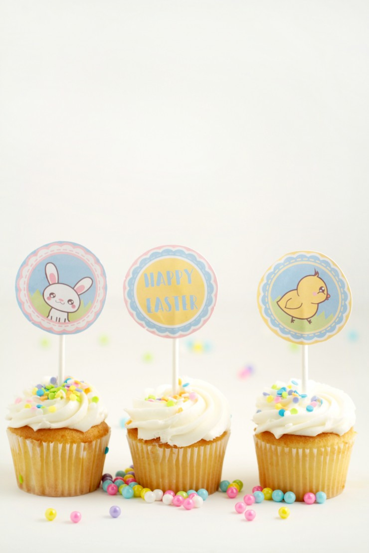 These Printable Easter Cupcake Toppers are super cute, I love the sweet chick and bunny characters. They are perfect little cupcake toppers for Easter cupcakes!