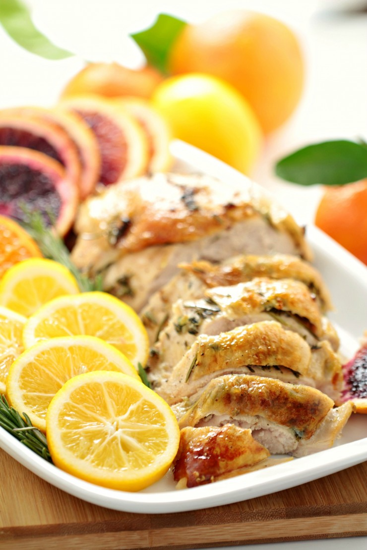 This Citrus & Rosemary Roasted Turkey Breast combines the fresh flavours of citrus fruit with the aroma of fresh herbs for a delicious turkey that easily feeds a small crowd. I used stem and leaf Clementines, Meyer lemons and blood oranges to create a flavour profile suited to a spring meal - a dish worthy of your family Easter dinner table.