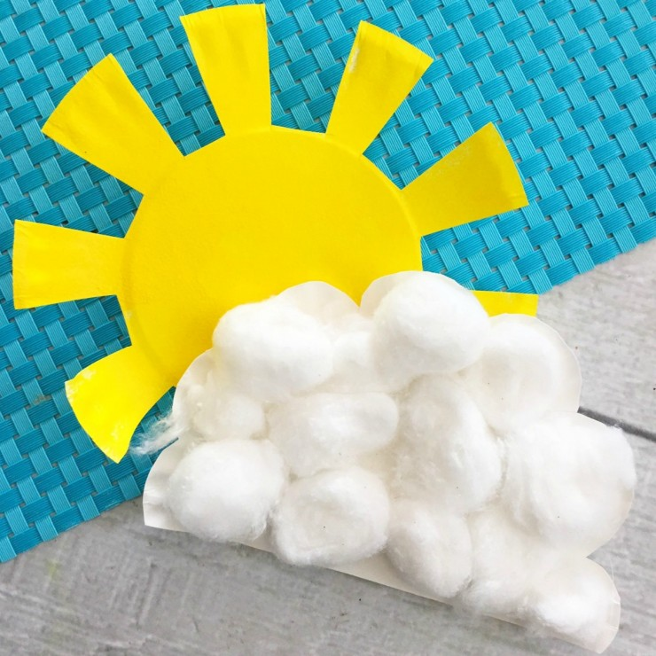 Sunshine and Cloud Paper Plate Craft