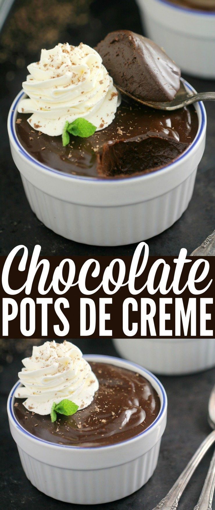 These Chocolate Pots de Crème are a truly decadent dessert. Chocolate, egg yolks, and just the right amount of heavy cream result in a rich chocolate custard perfect for serving guests or simply celebrating with a special someone.