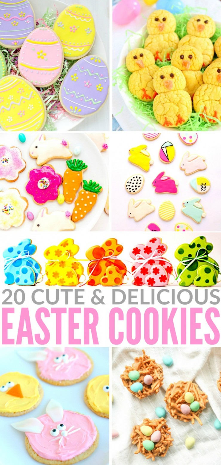 With Easter just around the corner, I put together a collection of 20 cute, delicious and colorful Easter cookie recipes that every-bunny will love. From easy no-bake bird's nest cookies and Easter chicks lemon cookies to 3D Easter bunny cookies, these ideas are the perfect way to celebrate.