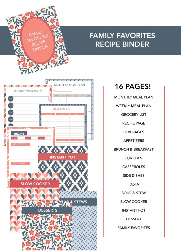 This is a complete Recipe Binder system which allows you to keep track of everything you need in the kitchen all at once. Amazing right?  You will find included pages for meal planning, grocery lists, category dividers and more.