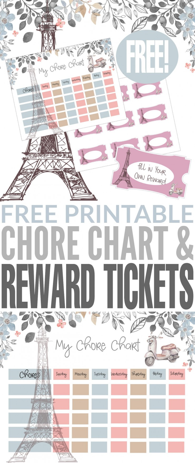 These Paris themed Free Printable Chore Chart & Reward Tickets are so cute don't you think? They are a great way to encourage your children to track and complete chores.