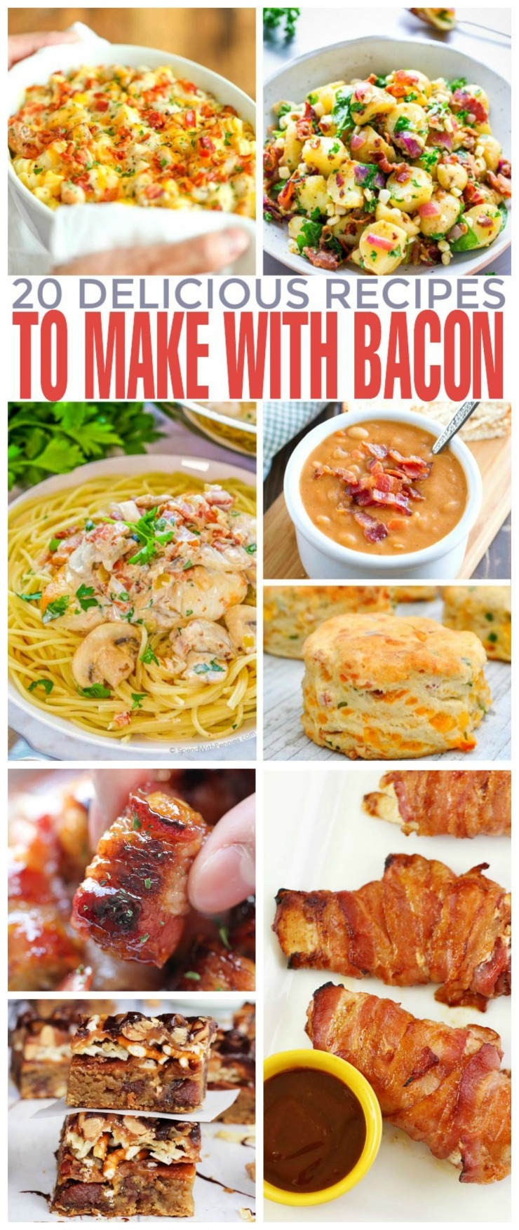 I gathered a collection of 20 delicious recipes you can make with bacon. From delicious potato salads and savoury bacon wrapped tater tot bombs to homemade bean soups and even bacon lo mein, these ideas will take you dinner from boring to fantastic.