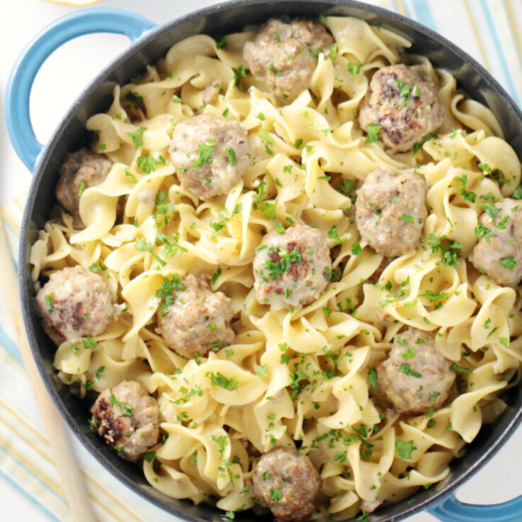 One-Pot Swedish Meatballs with Egg Noodles
