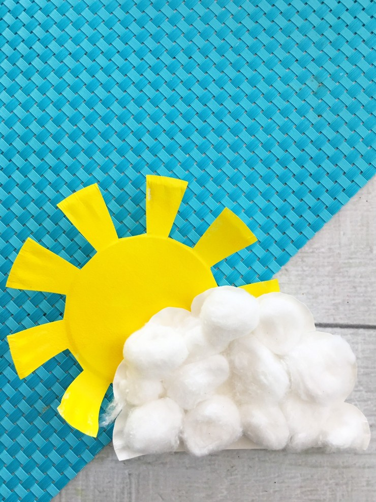 This Sunshine and Cloud Paper Plate Craft is a fun craft for kids. Make your own as inspiration for their own projects. Kids will love getting creative with this kids weather craft!