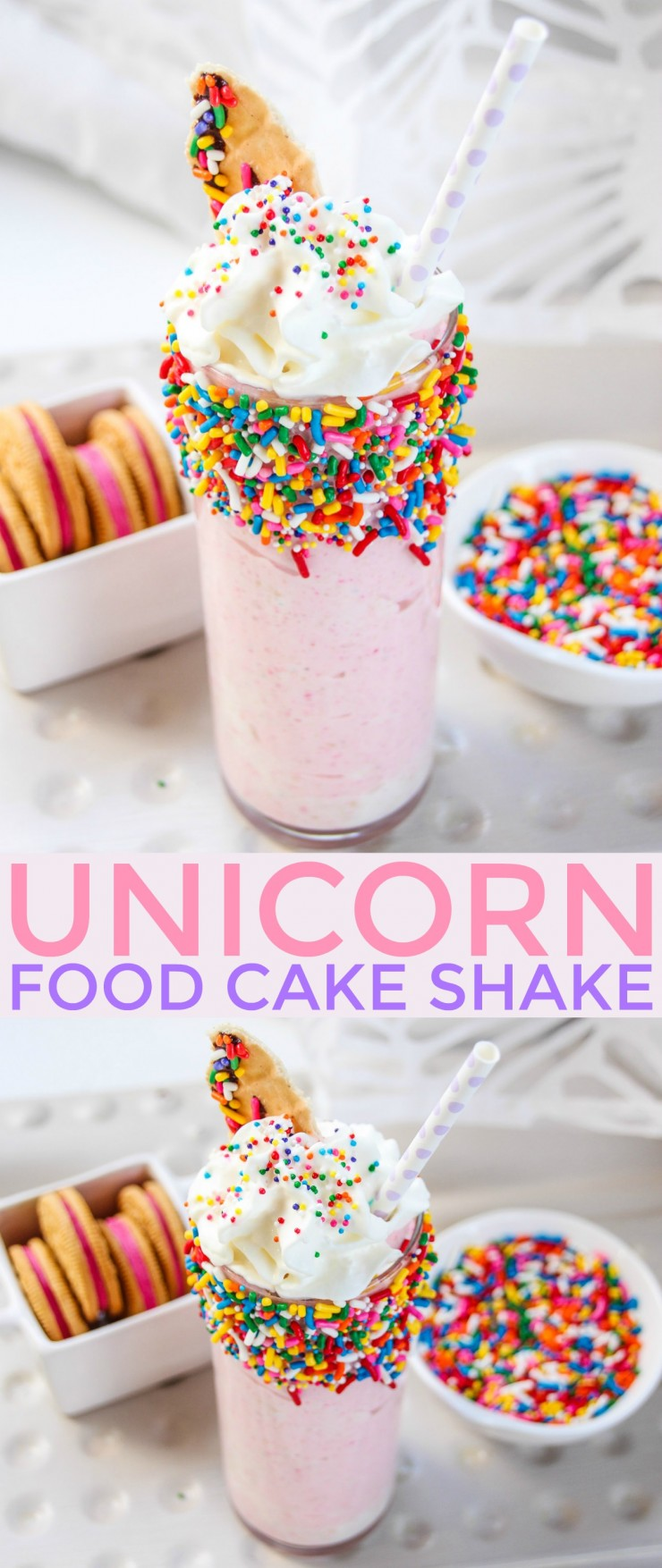 This Unicorn Food Cake Shake is the perfect addition to any unicorn themed birthday party or for anyone addicted to everything and anything unicorn. This milkshake doesn't only look adorable, it tastes delicious too!