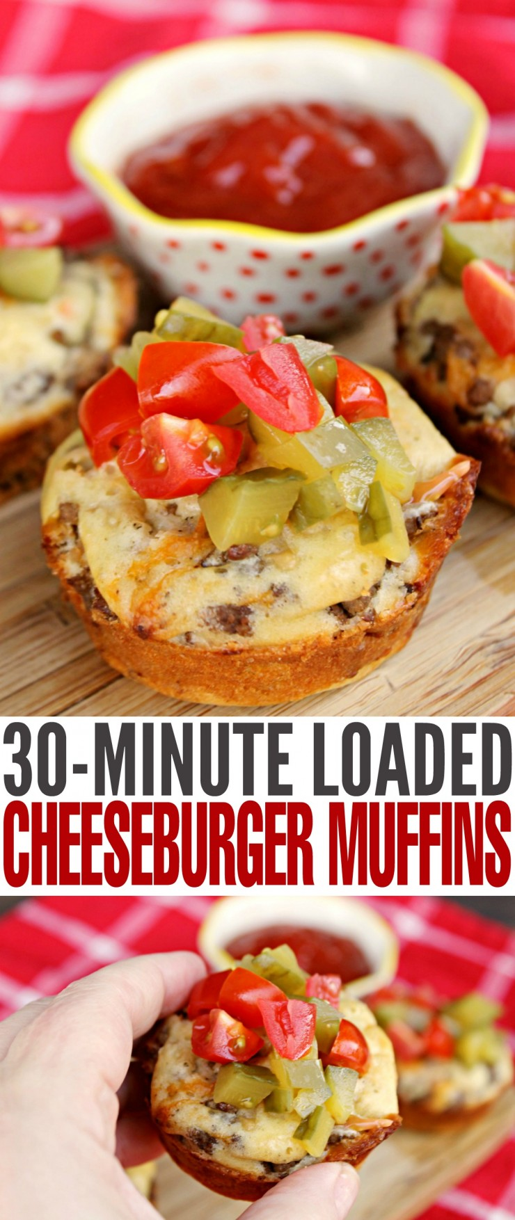 These Loaded Cheeseburger Muffins are ready in just 30 minutes for a fun filled lunch, dinner or even as a summer appetizer. All the flavour of a hamburger in one easy to eat muffin.