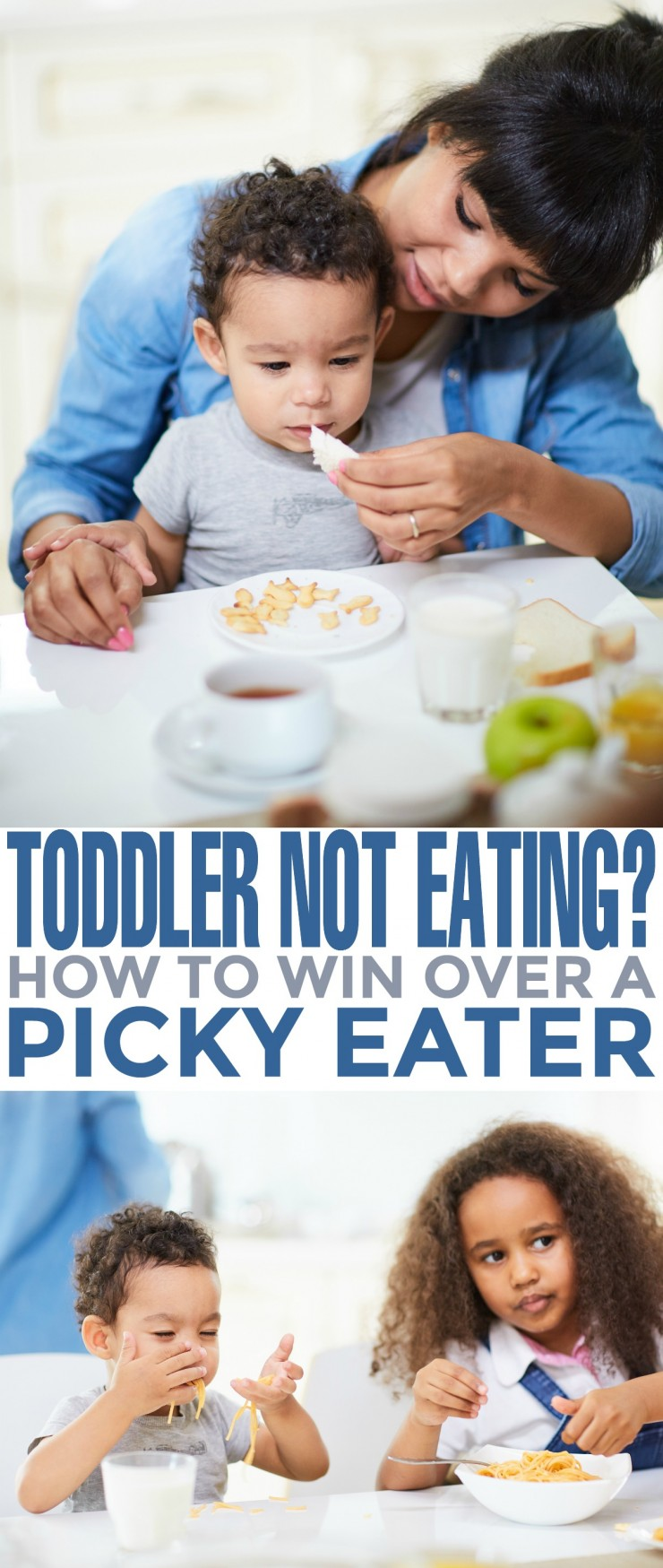 Toddler Not Eating? How to Win Over a Picky Eater. Having a picky eater can be very stressful for a parent. When your toddler won't eat, it can quickly transform mealtime into a stressful event.