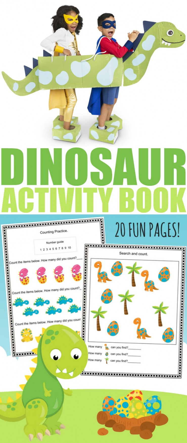 20 Fun Pages of printable dinosaur themed worksheets (for Pre-Kindergarten to Grade 1 aged kids!) You are going to love this FREE printable Dinosaur Activity Book for kids.