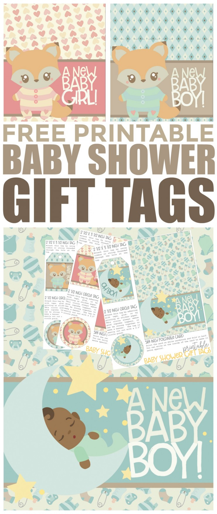 "These Free Printable Baby Shower Gift Tags are super fun and cute don't you think? They are perfect for baby showers and each pattern comes with a circle tag (that can be easily cut out with a 2.5"" circle punch), a tag to string onto a gift, and a card that can be folded in half and written inside."