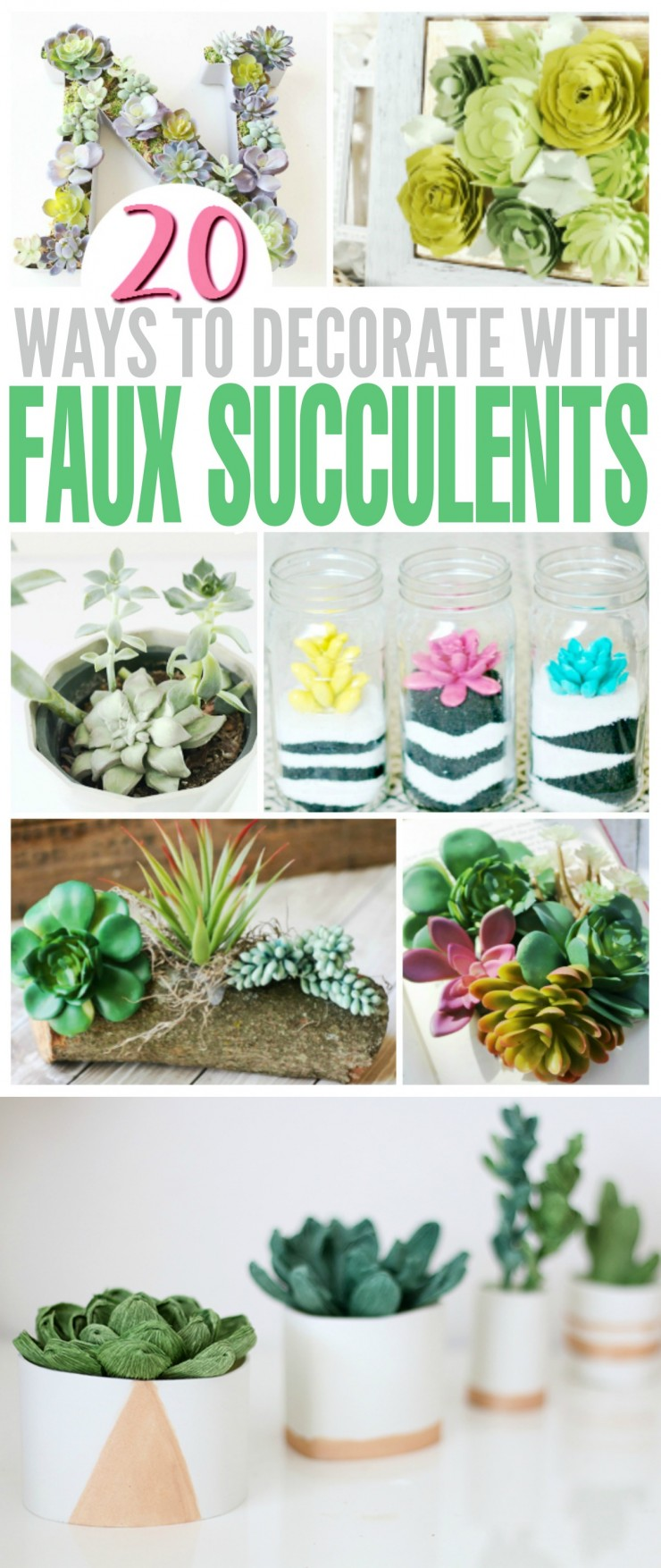 Succulents are a huge trend right now, and everyone seems to have a fascination with unique projects making use of succulents. Unfortunately succulents can get expensive to purchase, however faux succulents can be a great way to save a little cash and make trendy, fuss-free home décor pieces.