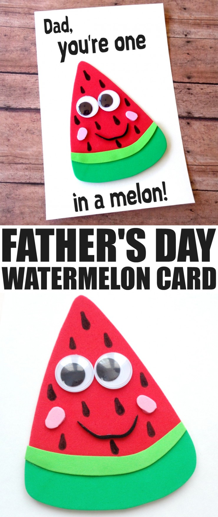 Father's Day is coming up and while it can be difficult to figure out what colour of tie to get for Dad for Father's Day, a hand made card is always going to be a hit. This DIY Father's Day Watermelon Card is the perfect way to show Dad that he is ONE IN A MELON! So punny, just like Dad!