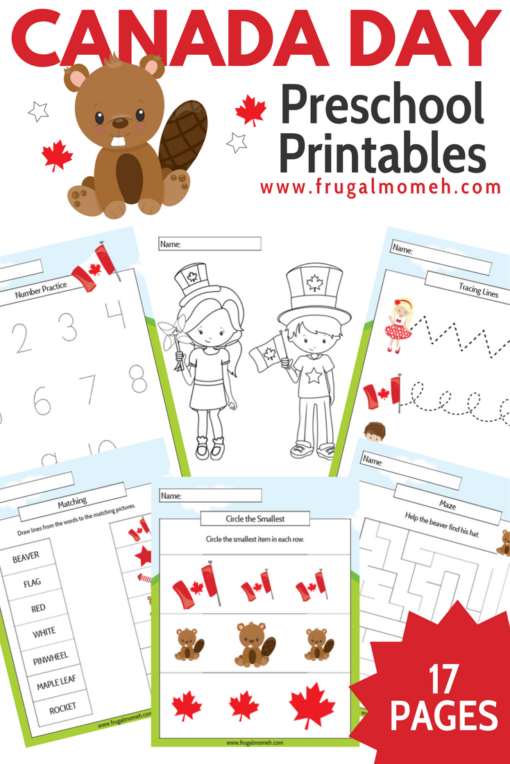 Free Printable Canada Day Preschool Activity Book - Frugal Mom Eh!