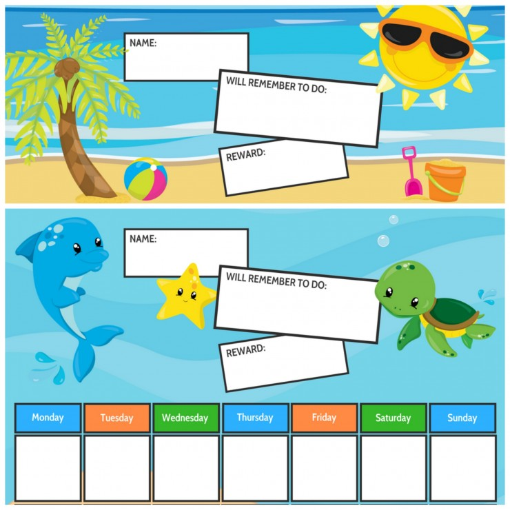Ocean & Beach Themed Free Printable Chore Charts