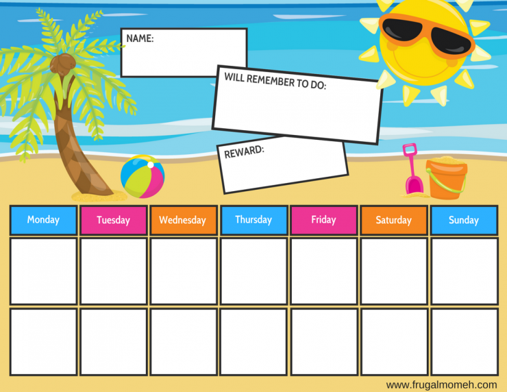 photo relating to Printable Job Chart named Ocean Beach front Themed Free of charge Printable Chore Charts - Frugal