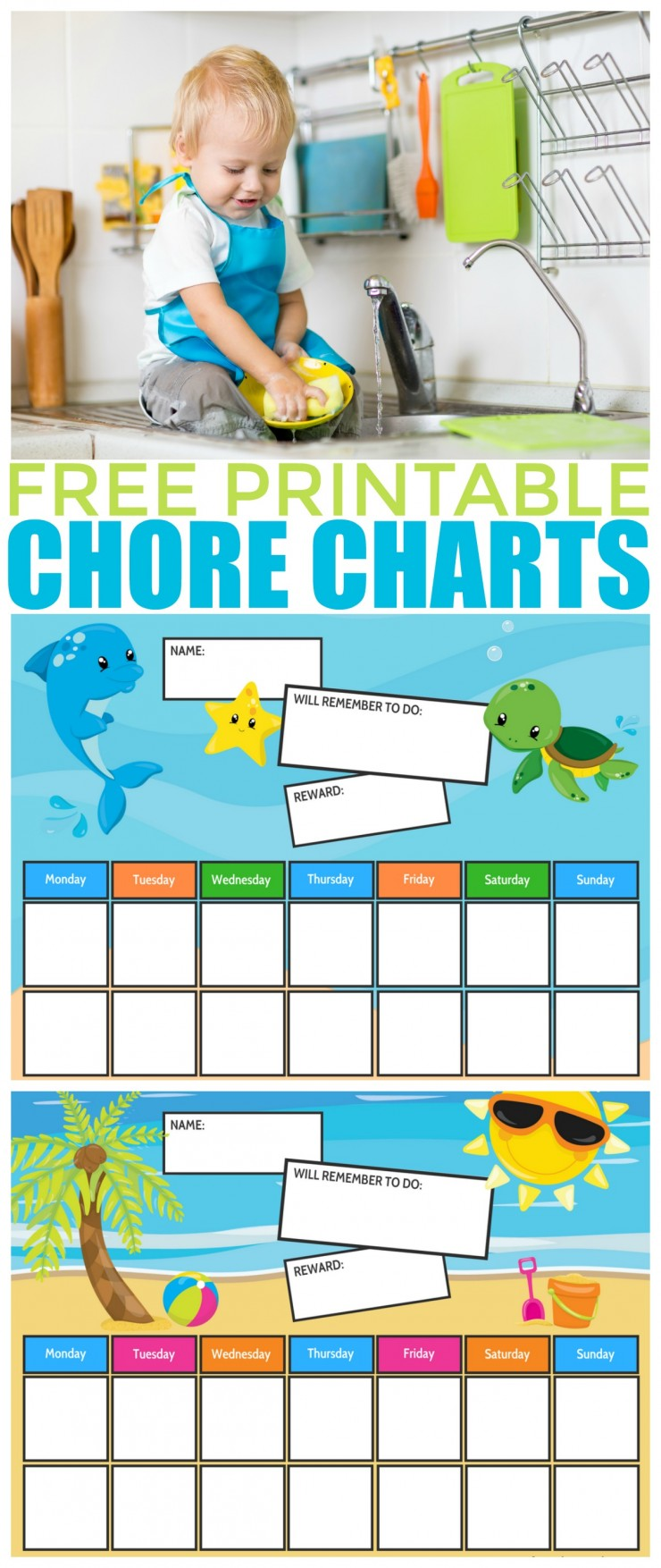 These Ocean & Beach Themed Free Printable Chore Charts are so cute don't you think? They are a great way to encourage your children to track and complete chores all summer long!
