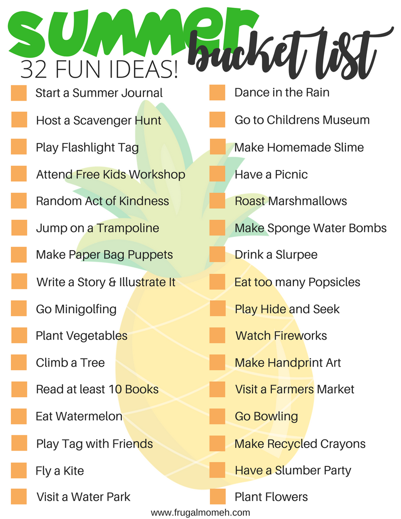 Grab this free Printable Summer Bucket List with 32 Fun Ideas for Kids that will help keep your kids busy all summer long!