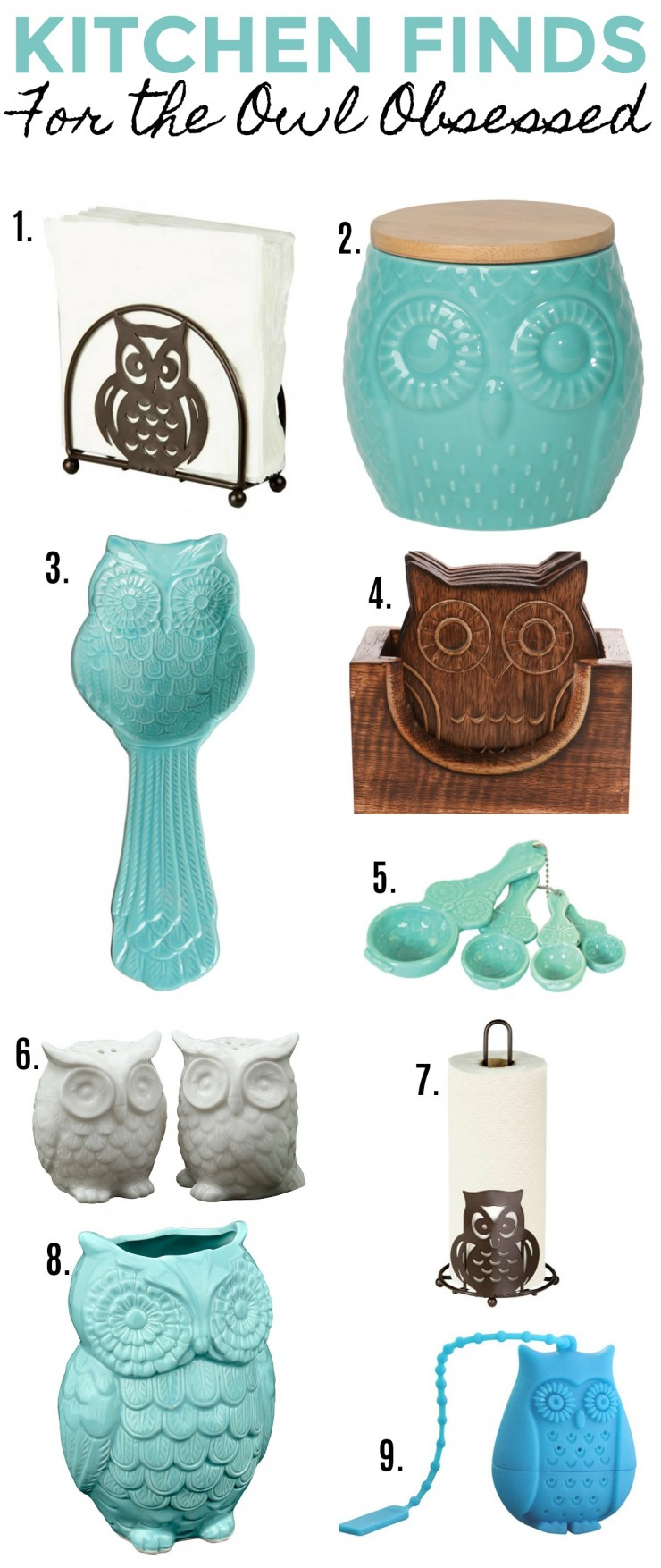 kitchen finds for the owl obsessed frugal mom eh owl canister 3 ceramic owl cooking spoon rest 4 wooden owl coasters 5 ceramic owl measuring spoon set 6 ceramic owl salt and pepper shaker 7
