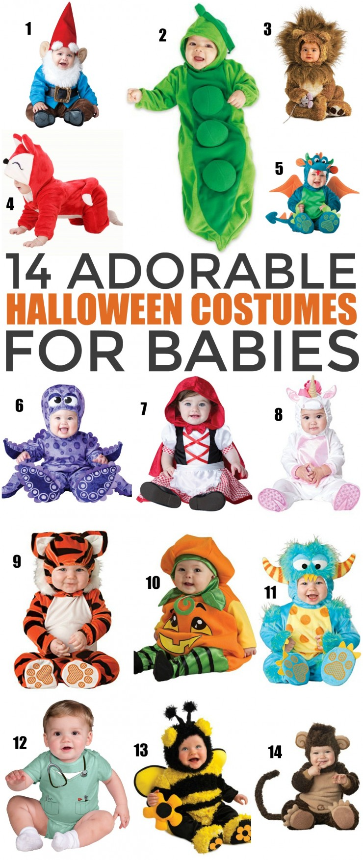 You won't want to leave baby out of the festivities, especially not with costumes as cute as these 14 totally adorable Halloween Costumes for Babies! These baby costume ideas are too cute for words.
