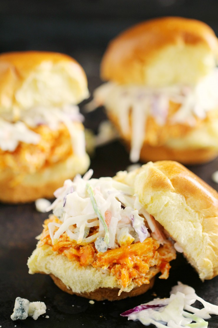 These Quick and Easy kid-friendly Buffalo Chicken Sliders are an easy weeekday meal recipe that easily transition to party appetizer!