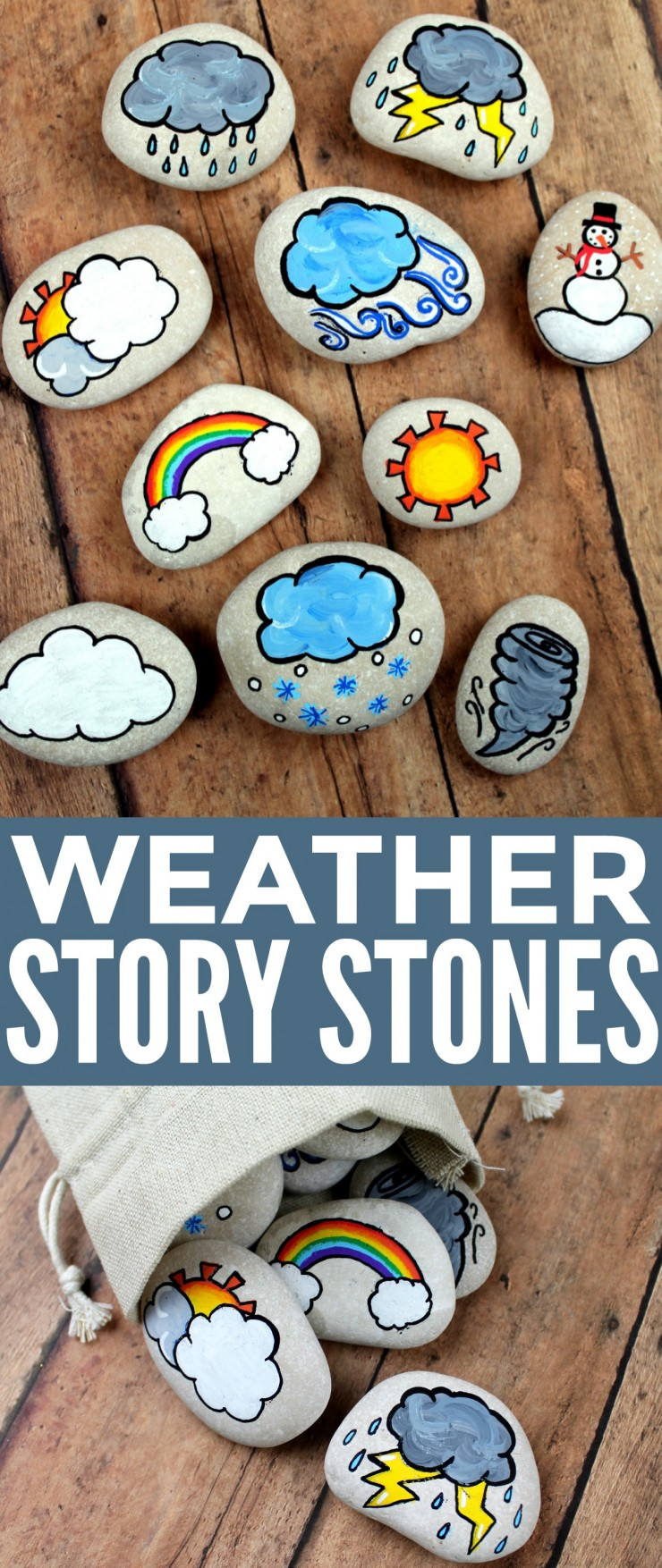 These weather story stones are a DIY toy designed for story-telling prompts and for narrative play. Story stones are fun and so easy to make plus your kids can enjoy them for years! They could also be helpful when teaching younger kids about our changing weather.