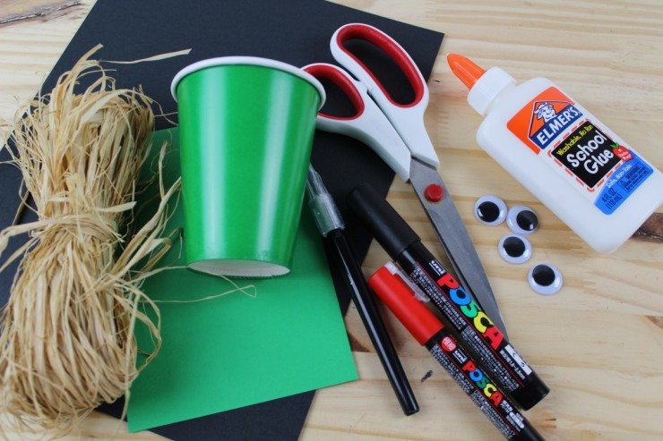 Supplies for making Halloween Treat Cups.
