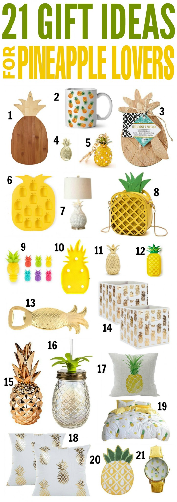 I just had to put together a collection of gift ideas for pineapple lovers. I know I am not the only! Amazon.ca has a great selection of gift ideas and these pineapple gifts are great for Birthdays, Christmas, and Housewarming gifts.