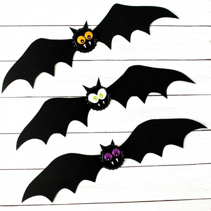 Spooky Bat Halloween Bottlecap Magnets