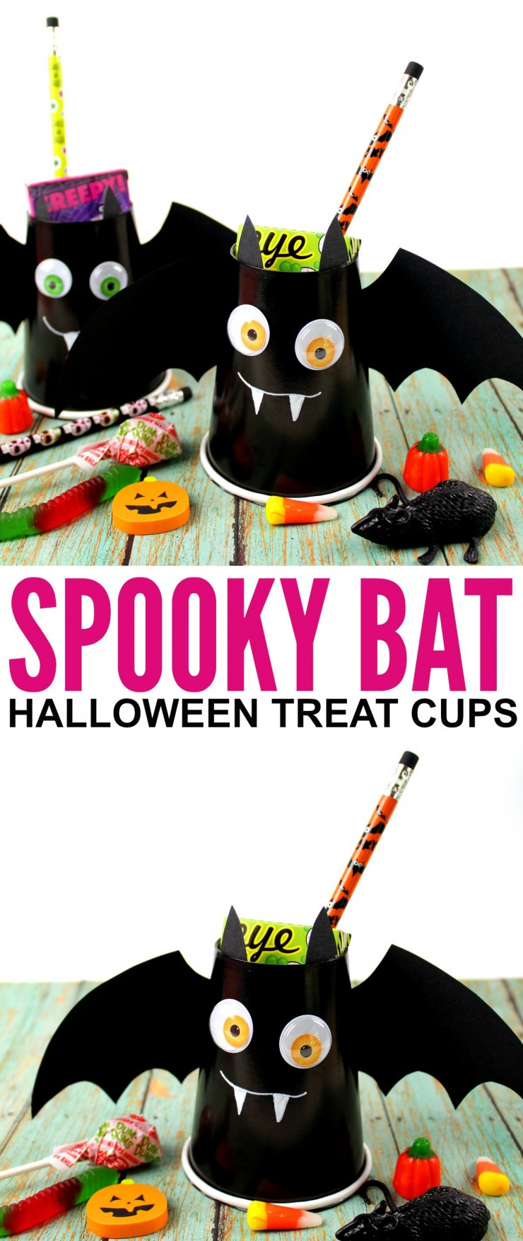 This Bat Halloween Treat Cups kids craft is a great way to celebrate the holiday - they are a fun little Halloween craft kids will enjoy being creative with. They are great for Halloween party favours!