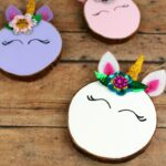 Wood Slice Unicorn Ornaments