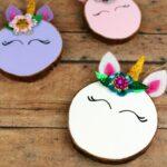 Wood Slice Unicorn Ornaments
