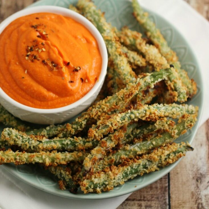 Green Bean Fries with Sweet Potato Dip