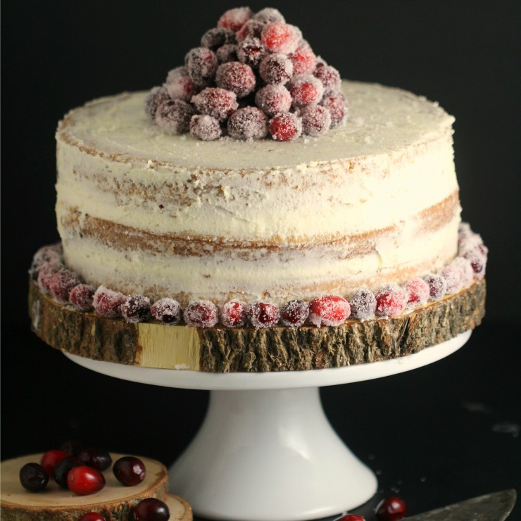 Cranberry White Chocolate Cake with Frosted Cranberries
