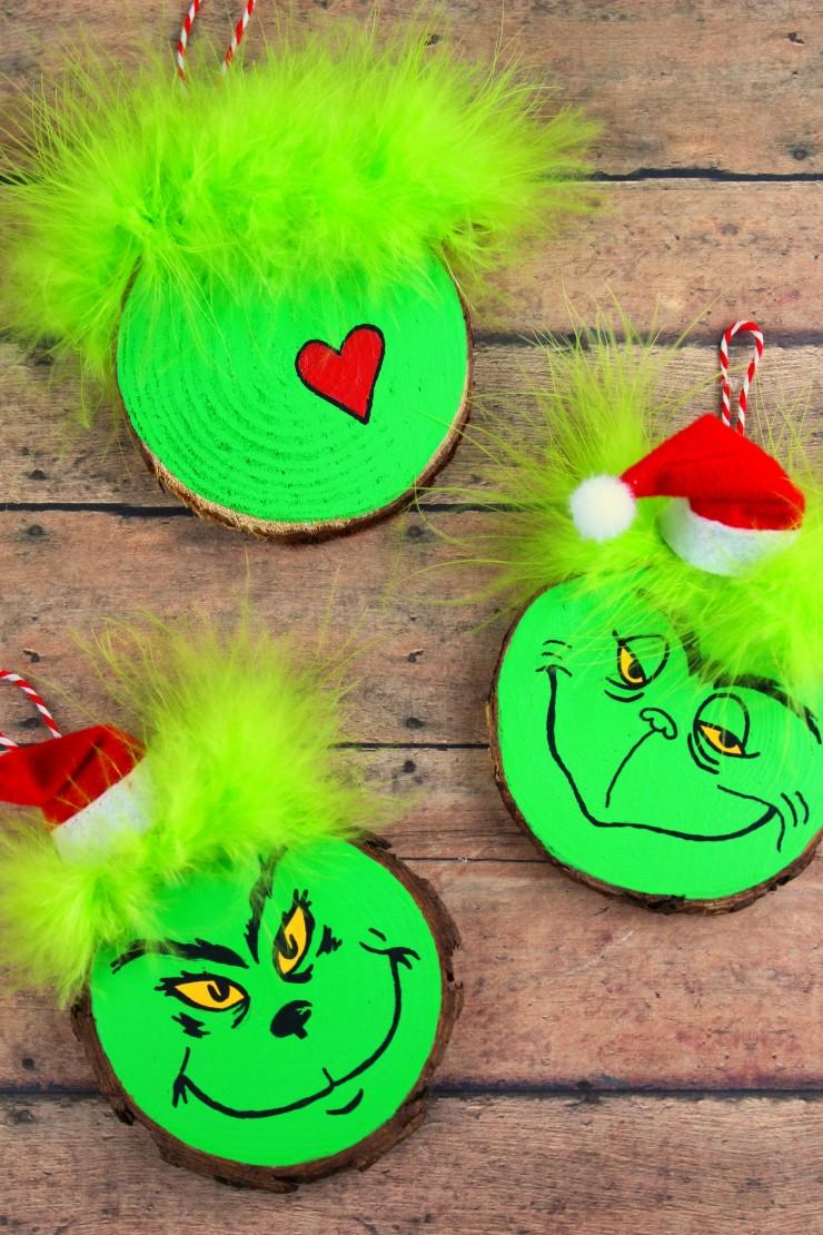 Wood Slice Grinch Ornaments Frugal Mom Eh