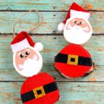 Wood Slice Santa Claus Ornaments