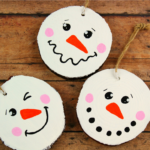 Wood Slice Snowman Ornaments