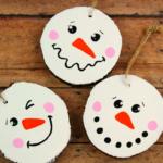 Wood Slice Snowman Ornaments
