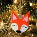Wood Slice Fox Christmas Ornaments